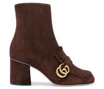 Ankle Boots Aus Veloursleder Mit Fransen -
