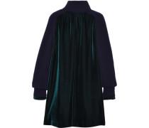 Kleid Aus Samt Mit Wolleinsätzen - Smaragdgrün