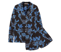Poppy Snoozing Bedruckter Pyjama Aus Crêpe De Chine Aus Stretch-seide -