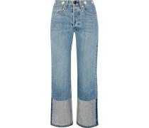 Verkürzte, Hoch Sitzende Jeans Mit Geradem Bein Und Verzierung - Heller Denim