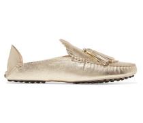 Loafers Aus Strukturiertem Leder In Metallic-optik Mit Fransen Und Einklappbarer Fersenpartie -