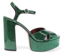 Debbie Plateausandalen Aus Leder Mit Glitter-finish - Smaragdgrün