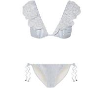 Meridian Gestreifter Triangel-bikini Mit Lochstickerei Und Rüschen -