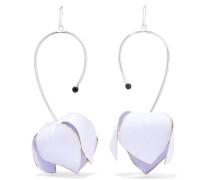 Silberfarbene Ohrringe Mit Kristallen Und Details Aus Popeline -