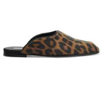 Slippers Aus Kunstkalbshaar Mit Leoparden-print
