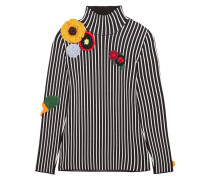 Stripes & Flowers Rollkragenpullover Aus Stretch-jersey Mit Applikationen - Schwarz