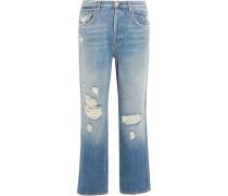 Ivy Verkürzte, Hoch Sitzende Jeans Mit Geradem Bein In Distressed-optik - Mittelblauer Denim