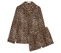 Lillian Pyjama Aus Vorgewaschener Seide Mit Leopardenprint -