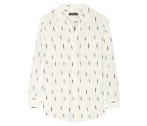 Slim Signature Bedrucktes Hemd Aus Vorgewaschener Seide - Elfenbein