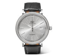 Portofino Automatic 40 Mm Uhr aus 18 Karat  und Diamanten mit Alligatorlederarmband