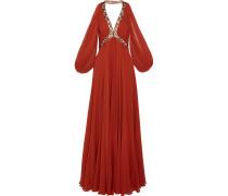 Schulterfreie Robe aus Seidenchiffon mit Verzierungen -