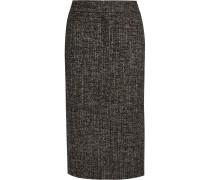 Bleistiftrock Aus Tweed Aus Einer Wollmischung Mit Reißverschlussverzierung - Dunkelbraun