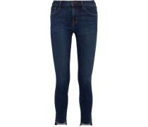 811 Halbhohe Skinny Jeans Mit Gefransten Abschlüssen - Mittelblauer Denim