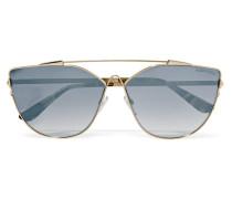 Goldfarbene Verspiegelte Sonnenbrille Mit Cat-eye-rahmen -