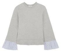 Gestreiftes Sweatshirt Aus Einer Baumwollmischung Mit Besätzen Aus Popeline -