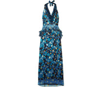 Curtain Of Stars Bedrucktes Neckholder-kleid aus Chiffon aus einer Seidenmischung mit Fil Coupé -