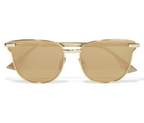 Pharaoh Verspiegelte Sonnenbrille Mit Vergoldetem Cat-eye-rahmen