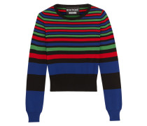 Gestreifter Pullover Aus Stretch-strick - Königsblau