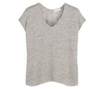 Malibu T-shirt Aus Leinen Mit Flammgarneffekt - Hellgrau