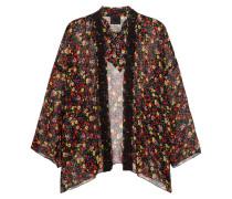 Kimono Aus Seidenkrepon Mit Floralem Print Und Häkelspitze - Schwarz