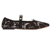 Nietenbesetzte Flache Schuhe Aus Schnurgebundener Spitze - Schwarz