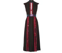 Kleid Aus Bedrucktem Seiden-crêpe Mit Metallic-fil Coupé Und Cut-outs - Schwarz