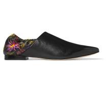 Babouche Slippers Aus Leder Mit Floralem Print -