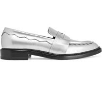 Loafers aus Leder in Metallic-Optik mit Wellenkante