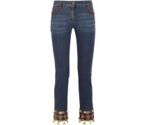 Verzierte Halbhohe Jeans Mit Schmalem Bein Und Stickereien - Blau