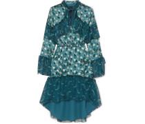 Cosmos Bedrucktes Kleid aus Sateen mit Fil Coupé und Seidenchiffon in Knitteroptik -