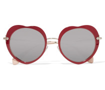 Verspiegelte Sonnenbrille Aus Azetat Mit Goldfarbenen Details - Bordeaux