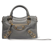 Metallic Edge City Mini Tote Aus Strukturiertem Leder - Anthrazit