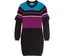 Minikleid Aus Wolle In Rippstrick Mit Colour-block-optik - Schwarz