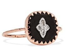Pierrot Ring Aus 9 Karat  Und Silber Mit Bakelit® Und Diamanten
