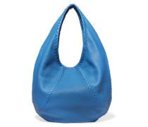 Schultertasche Aus Strukturiertem Leder Mit Intrecciato-details - Blau