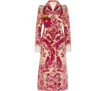 Verzierter Mantel Aus Einer Seiden-baumwollmischung Mit Devoré-effekt Und Applikationen - Pink