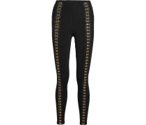 Leggings In Stretch-rippstrick Mit Verzierung - Schwarz