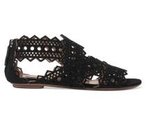 Sandalen Aus Lasergeschnittenem Veloursleder -