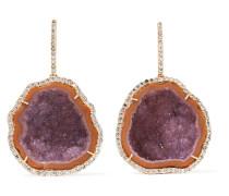 Ohrringe Aus 18 Karat  Mit Diamanten Und Geoden