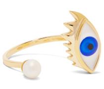 Ring Aus 9 karat Gold Mit Perle Und Emaille