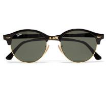 Clubround Sonnenbrille Aus Azetat Und Goldfarbenem Metall - Schwarz