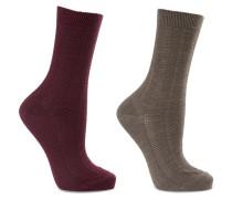 Armour Set Aus Zwei Paar Socken Aus Einer Strukturierten Wollmischung - Grau