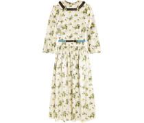 Kleid aus Satin mit Blumendruck und Gürtel