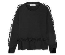 Enid Sweatshirt Aus Baumwoll-frottee Mit Rüschenbesatz - Schwarz
