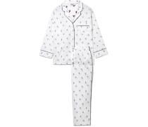 Marina Bestickter Pyjama Aus Baumwolle -