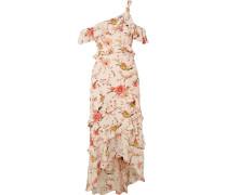 Jillian Midikleid aus Floral Bedrucktem Seiden-georgette mit Asymmetrischer Schulterpartie -