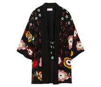 Kimonojacke Aus Crêpe De Chine Aus Seide Mit Blumenprint - Schwarz