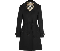 Twill-Mantel aus einer Wollmischung mit Lederbesatz