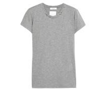 T-shirt Aus Baumwoll-jersey Mit Nieten - Grau