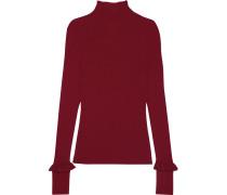 Gerippter Wollpullover Mit Verzierungen - Rot